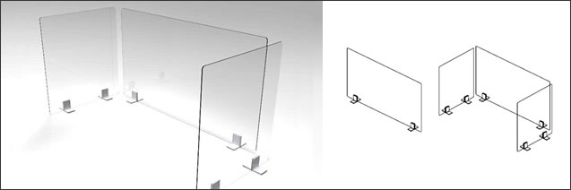 オカムラ 飛沫拡散防止デスクトップ仕切りパネル
