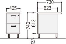 旧JISデスクOFシリーズ(2段脇机)の寸法図