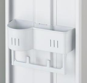 1段・2段タイプの扉にはネクタイ・タオル掛けを標準装備しています。1段タイプの扉には傘立も装備しています。