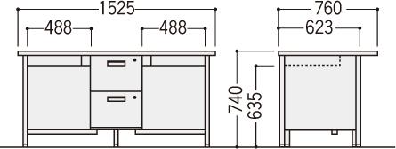 旧JISデスクOFシリーズ(2人用机)の寸法図