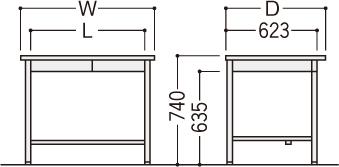 旧JISデスクOFシリーズ(平机)の寸法図