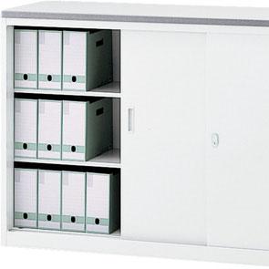 A4サイズの横型ボックスファイルが3段収納可能です。