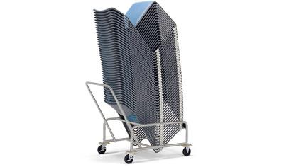 専用台車(E-4)を使用すると、最大40脚までの積載が可能です。