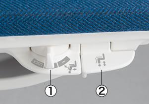 ①スマートスライドオペレーションレバーレバーをスライドさせるだけで、リクライニング反力強さを「強・弱」2段階と背の固定を切り替えられます。②座上下昇降レバー座面の上下高さ調節が可能です。