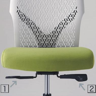 座面下、左手側のレバーを操作してリクライニングの固定(3段階)・解除が可能です。右手側のレバーは座面高さを調節します。