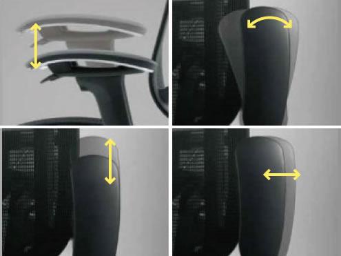 アーム自体も、常に最適なポジションへ。高さ・奥行・左右のほか、肘を起点にした角度も調節できます。