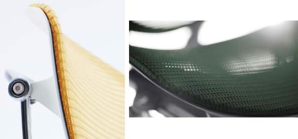 背のメッシュは透過性が高く、しなやかかつ美麗に。座面のメッシュは手触りの良さを重視して、座り心地と耐久性を備えて。カラー展開も刷新しています。