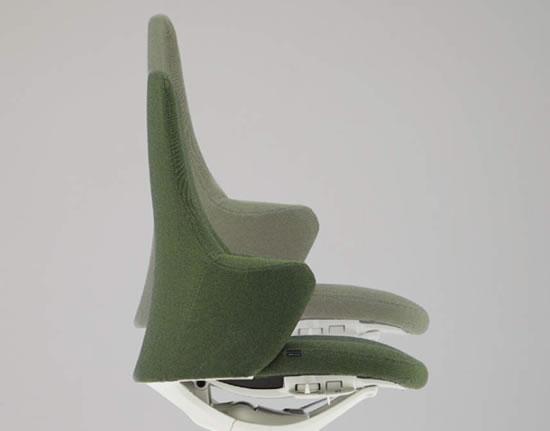 5本脚タイプは、座面右下のレバー操作で座面高さを自由に調節できます。(ストローク:100mm)