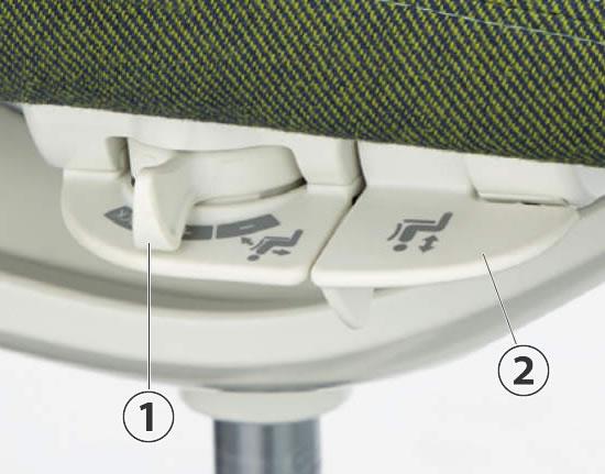1.リクライニングの強弱と固定・解除を設定します。2.座面の上下調節レバーです。(5本脚タイプ)