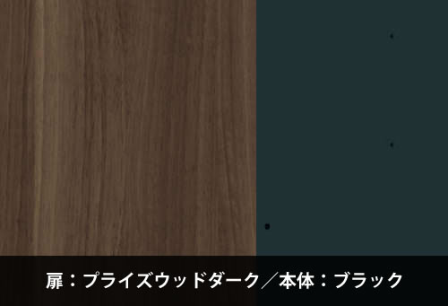 カラーサンプル(扉:プライズウッドダーク/本体:ブラック)