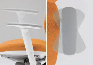 アジャストアームタイプの肘は、上下は100mm(20mm刻みで6段階)、角度は内外にそれぞれ30度、計60度の範囲で可動します。