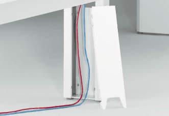 中間脚は着脱式のカバー式で、内部にLANケーブルや電源ケーブルの立ち上げ配線を収納できます。