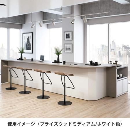 (キャビネット+エンドパネル+カウンター)使用イメージ。天板・エンドパネルはプライズウッドミディアム。本体カラーはホワイト。