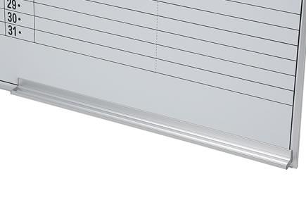 マーカーやイレイサーを置けるアルミ製の粉受けは、壁掛けタイプの下部にもついています。