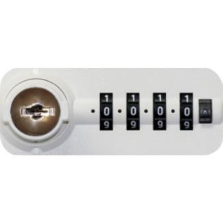 オールロック式、ダイヤル錠タイプ。施錠・開錠時にダイヤルがゼロに戻る「ゼロリセットタイプ」で、暗証番号の漏洩を防ぎます。非常開錠キーが1本付属します。