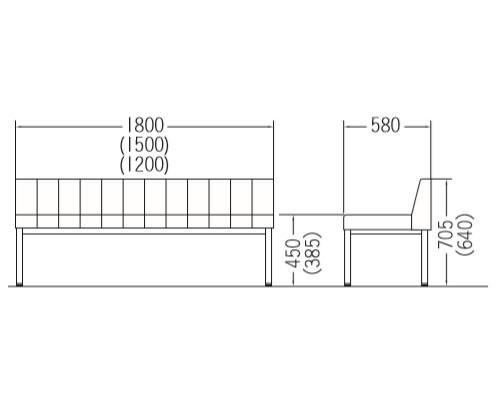 CLO(セミオーダー)シリーズ-背付きタイプ 寸法図