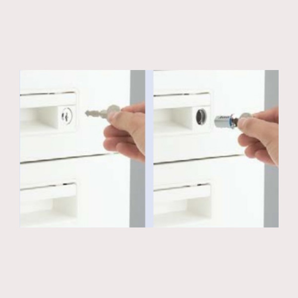 内筒交換錠式 内筒交換錠式は錠前の内筒を交換することで、鍵番号の変更が可能でセキュリティーの管理機能が一段と高まります。