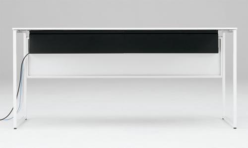 天板下にOAタップ・ケーブルの余長などを収める配線ダクトがついており、煩雑になりがちなケーブル類をスッキリまとめて格納できます。