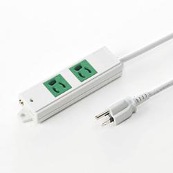 サンワサプライ TAP-K2-3G 3P、3m、2個口タップ緑色(バックアップ用)