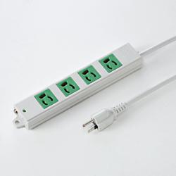 サンワサプライ TAP-K4-3G 3P、3m、4個口タップ緑色(バックアップ用)