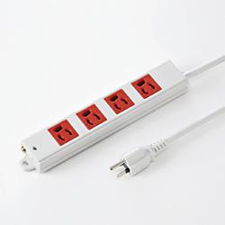 サンワサプライ TAP-K4-3R 3P、3m、4個口タップ赤色(緊急用)