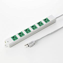 サンワサプライ TAP-K6-3G 3P、3m、6個口タップ緑色(バックアップ用)