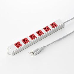 サンワサプライ TAP-K6-3R 3P、3m、6個口タップ赤色(緊急用)