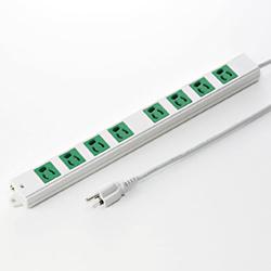 サンワサプライ TAP-K8-3G 3P、3m、8個口タップ緑色(バックアップ用)