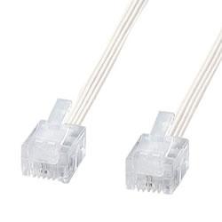 サンワサプライ TEL-S2-10N2 やわらかスリムケーブル(白)