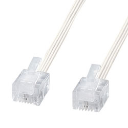 サンワサプライ TEL-S2-5N2 やわらかスリムケーブル(白)