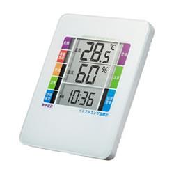 サンワサプライ CHE-TPHU2WN 熱中症&インフルエンザ表示付きデジタル温湿度計(警告ブザー設定機能付き)