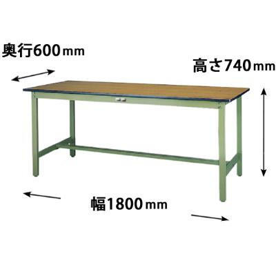 ワークテーブル 500シリーズ 固定式 幅1800 奥行600 メラミン天板 木目グリーン