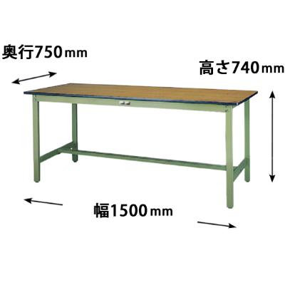 ワークテーブル 500シリーズ 固定式 幅1500 奥行750 メラミン天板 木目グリーン