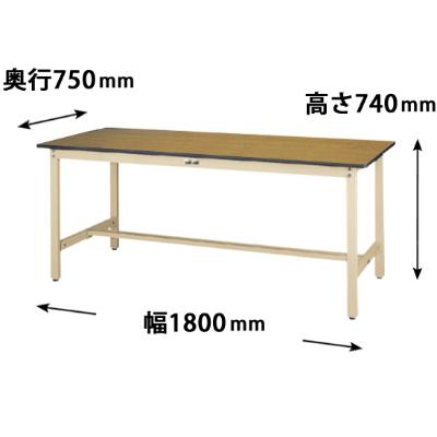 ワークテーブル 500シリーズ 固定式 幅1800 奥行750 メラミン天板 木目アイボリー