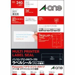 エーワン 28311 プリンタ&ワープロラベルシール プリンタ兼用 Panasonicタイプ マット紙ホワイト A4判 12面