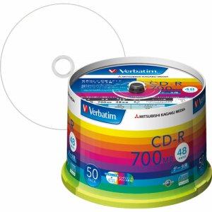 Verbatim SR80SP50V1 データ用CD-R 700MB ホワイトワイドプリンタブル スピンドルケース