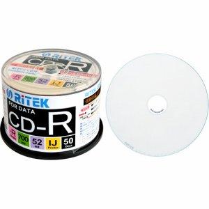 RiTEK CD-R700EXWP.50RT C データ用CD-R 700MB 1-52倍速 ホワイトワイドプリンタブル スピンドルケース