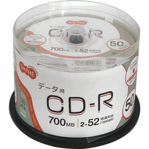OSCR80GP50 データ用CD−R 700MB 52倍速 ホワイトワイドプリンタブル スピンドルケース 汎用品