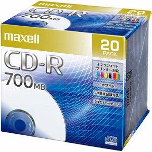 MAXELL CDR700S.PNW.20S データ用CD-R 700MB 48倍速 ホワイトプリンタブル 5mmスリムケース