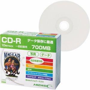 HIDISC HDCR80GP10SC データ用CD-R 700MB 52倍速 ホワイトワイドプリンタブル 5mmスリムケース