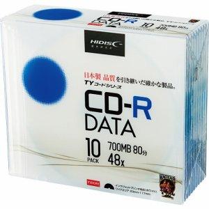 HIDISC TYCR80YP10SC データ用CD-R 700MB 48倍速 ホワイトワイドプリンタブル 5mmスリムケース
