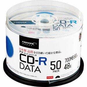 HIDISC TYCR80YP50SP データ用CD-R 700MB 2-48倍速 ホワイトワイドプリンタブル スピンドルケース
