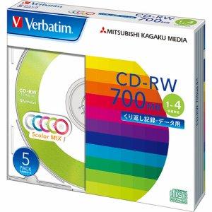 Verbatim SW80QM5V1 データ用CD-RW 700MB 4倍速 5色カラーMIX 5mmスリムケース