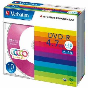 Verbatim DHR47JM10V1 データ用DVD-R 4.7GB 1-16倍速 5色カラーMIX 5mmスリムケース