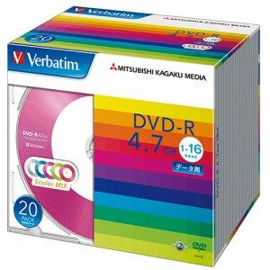 Verbatim DHR47JM20V1 データ用DVD-R 4.7GB 1-16倍速 5色カラーMIX 5mmスリムケース
