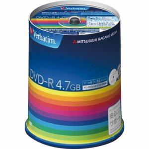 Verbatim DHR47JP100V3 データ用DVD-R 4.7GB 1-16倍速 ホワイトワイドプリンタブル スピンドルケース
