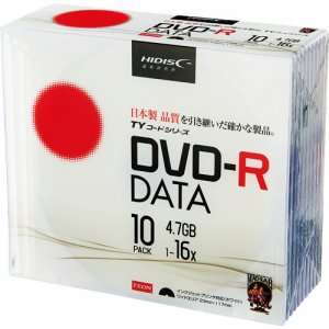 HIDISC TYDR47JNP10SC データ用DVD-R 4.7GB 16倍速 ホワイトワイドプリンタブル 5mmスリムケース