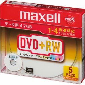 MAXELL D+RW47PWB.S1P5S A データ用DVD+RW 片面4.7GB 1-4倍速 ホワイトプリンタブル スリムケース