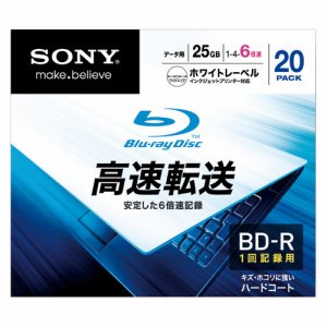 SONY 20BNR1DCPS6 データ用BD-R 25GB 1-6倍速 ホワイトワイドプリンタブル 5mmスリムケース