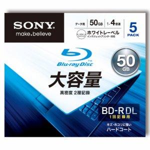 SONY 5BNR2DCPS4 データ用BD-R DL 50GB 1-4倍速 ホワイトワイドプリンタブル 5mmスリムケース